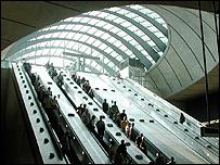 Canary Wharf Jubilee Line escalators