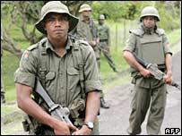 Soldiers man a roadblock