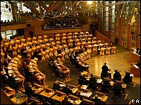 The debating chamber of the Scottish Parliament