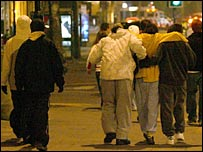 "Young people wearing ""hoodies"" on a night out"