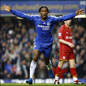 Didier Drogba celebrates his goal against Reading