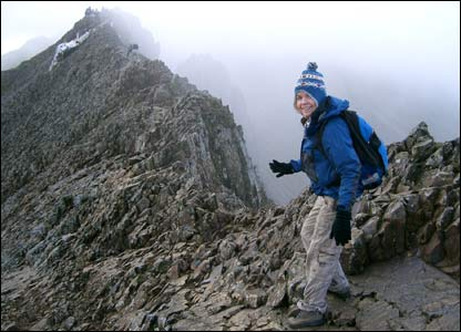 Geraint from Swansea sent this shot of girlfriend Helen about to go across Crib Goch on Snowdon