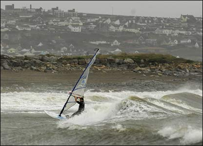 A windsurfer sailing at Trecco Bay, Porthcawl, sent by Dave Kitson from Cwmbran.