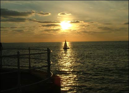 Helen Stephens sent this picture in of a boat coming home at sunset in Aberystyth