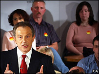 Tony Blair addressing supporters
