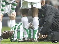 Bobo Balde was stretchered off before half-time