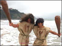 Chris Brace and Gareth Scotcher as cavemen - photo: Gareth Davies Photography, Tenby