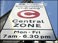 A congestion charge sign