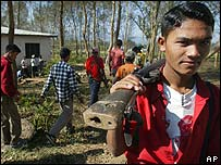 Maoist rebels at a camp in Dashrathpur village in western Nepal