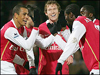 Goalscorer Gilberto Silva (left), Alexander Hleb (centre), Emmanuel Adebayor (second right) celebrate Arsenal's opener at Watford