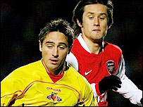Watford winger Tommy Smith (left) equalised for his side against Arsenal
