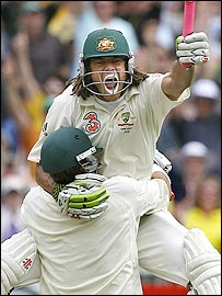 Matthew Hayden and Andrew Symonds took the game away from England with a superb partnership