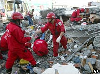 Rescue workers in Pingtung county in Taiwan