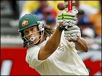 Andrew Symonds hits a boundary