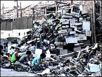 Desecho de computadoras en India.