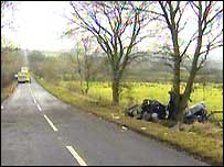 The scene of the accident near Crumlin