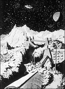 Artist's impression of a lunar gold mine