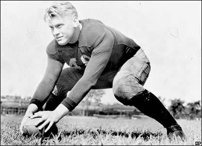 Gerald Ford playing American football at the University of Michigan in 1934