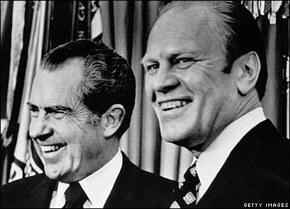 Mr Ford laughs with US President Richard Nixon after his nomination for vice-president was approved on 6 December 1973