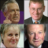 Clockwise top left - Peter Hain, Peter Black, Lord Elis Thomas and Trish Law