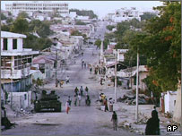 Mogadishu street after heavy fighting