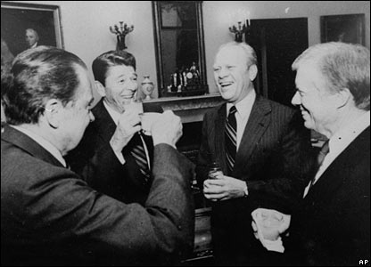 Ford, pictured with Presidents Richard Nixon (left), Ronald Reagan (second left) and Jimmy Carter (right) in October 1981