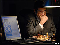 Russian world chess champion Vladimir Kramnik plays Deep Fritz