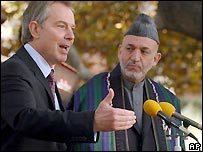 UK PM Tony Blair and Afghan President Hamid Karzai