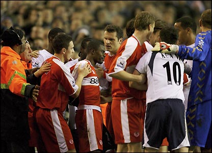 A mass brawl at White Hart Lane