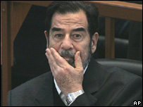 Saddam Hussein in court (archive)