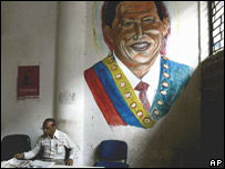 A mural of Venezuela's President Hugo Chavez in an office in Caracas