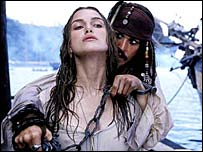 Keira Knightley and Johnny Depp in Pirates of the Caribbean: Curse of the Black Pearl