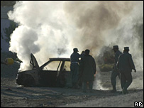 The scene of a suicide attack in Kandahar on 29 November