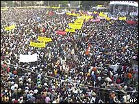 One of a succession of opposition rallies in Dhaka
