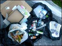 Household waste sorted for recycling