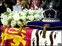 The Queen Mother's crown atop her coffin in 2002