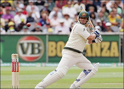 Shane Warne plays a square-cut off Steve Harmison