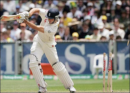 Alastair Cook is bowled off an inside edge