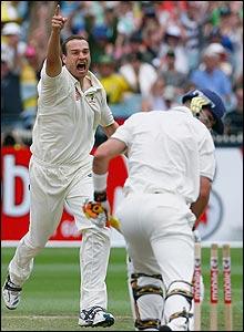Stuart Clark bowls Kevin Pietersen