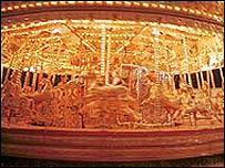A fairground carousel