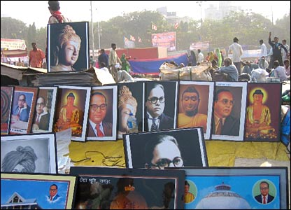 Dr Ambedkar enjoys iconic status among the Dalits. His pictures are bought by many Dalits who keep them alongside that of Buddha's, the founder of Buddhist religion.