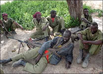 Somali's government soldiers rest in the town of in Jowhar on 27 December 2006