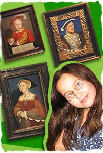 Camila junto a obras de Holbein