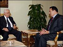 الرئيس المصري حسني مبارك مع الرئيس الفلسطيني محمود عباس