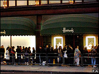 Shoppers queuing outside Harrods