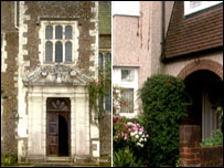 Loseley Hall and a semi detached house