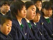Pupils at Sakura Higashi Junior High School in Tokyo