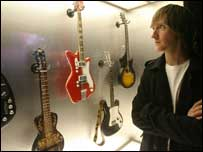 Gallagher's nephew Daniel at an exhibition featuring the star's guitars at the National Museum of Ireland.