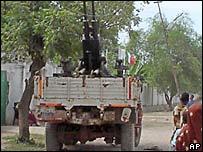Грузовик сомалийской армии с зенитным орудием