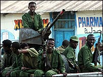 Somali government soldiers on their truck in Bur Haqaba